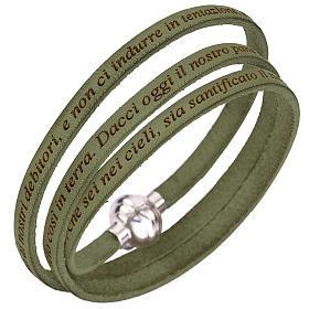 AMEN bracelets: Amen bracelet with Our Father in Italian, sage green