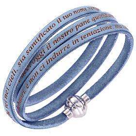 AMEN bracelets: Amen bracelet with Our Father in Italian, sky blue