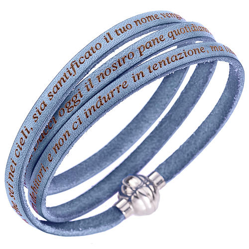Amen bracelet with Our Father in Italian, sky blue 1