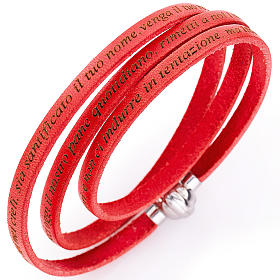 Amen bracelet with Our Father in Italian, coral s1
