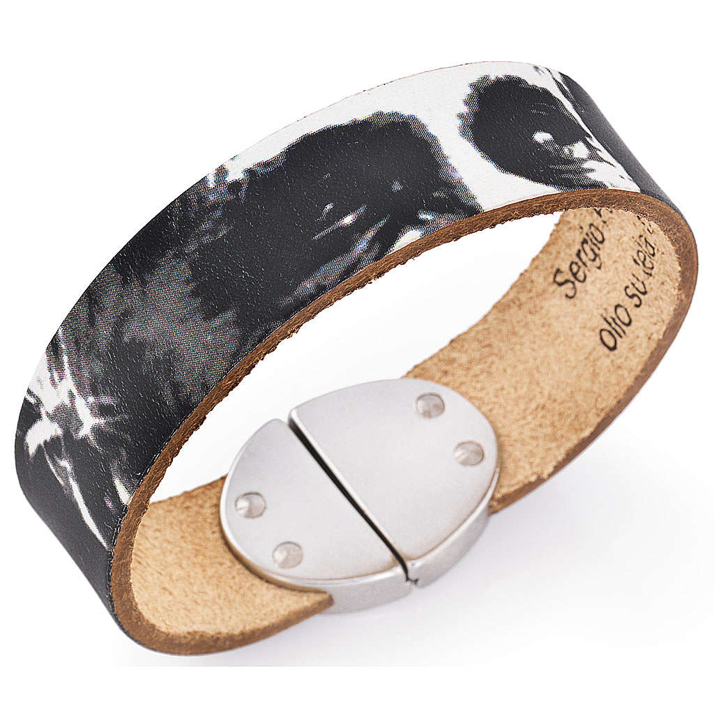 Amen bracelet, Pope Francis in black leather 4