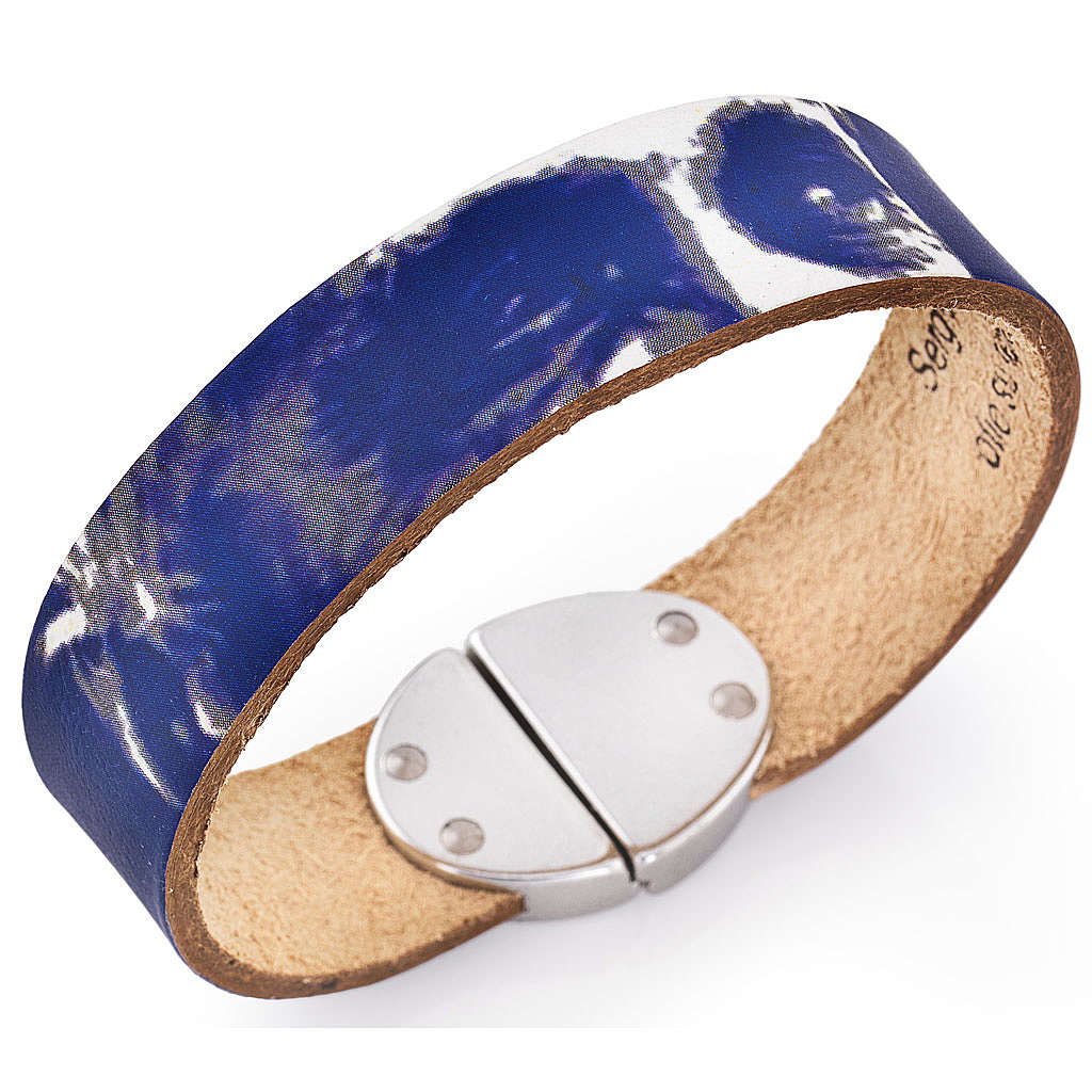 Amen bracelet, Pope Francis in blue leather 4