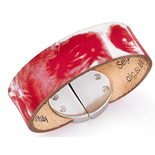 Bracelet Amen Pape François cuir rouge 1