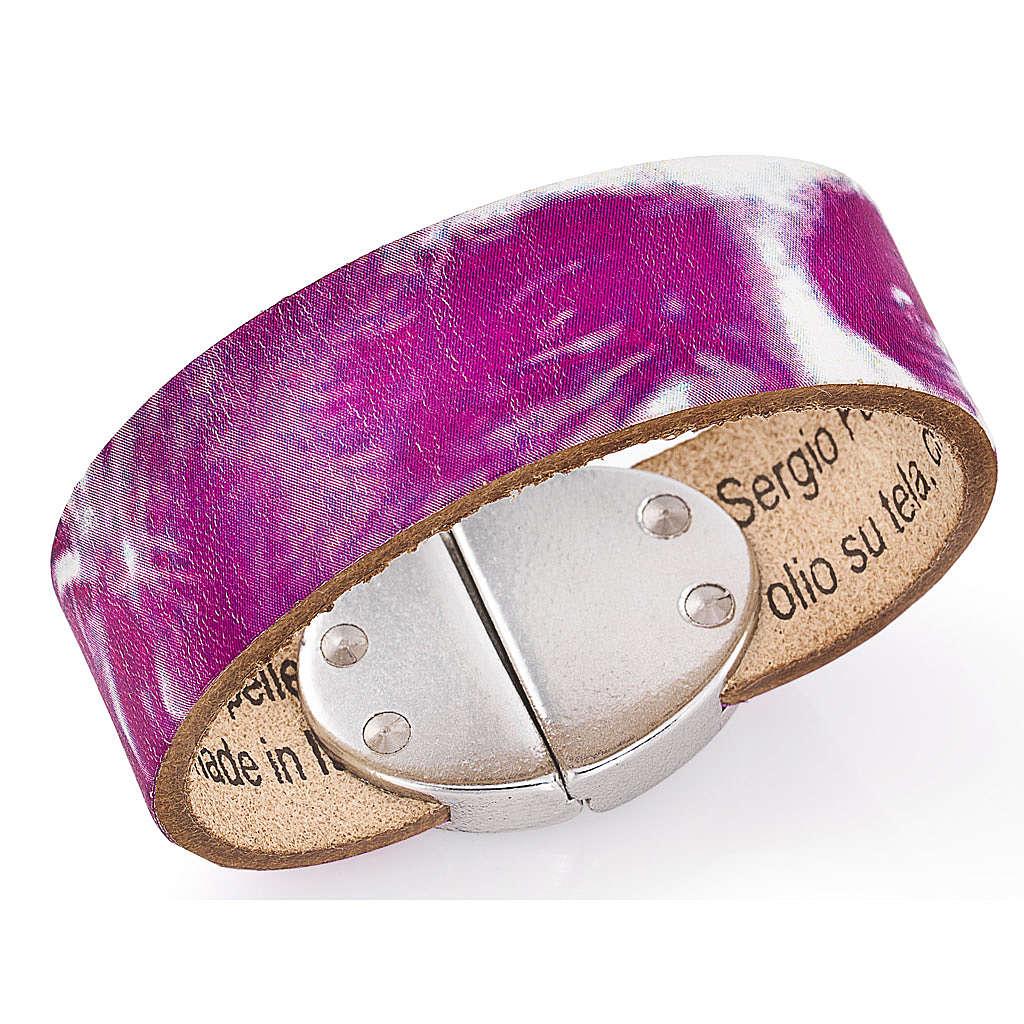 Amen bracelet, Pope Francis in fuchsia leather 4