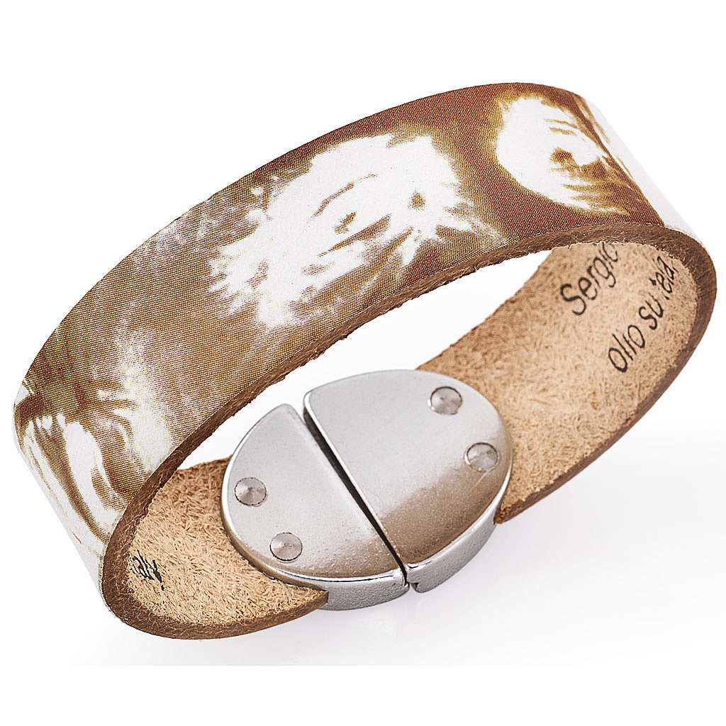 Amen bracelet, Pope Francis in white leather 4