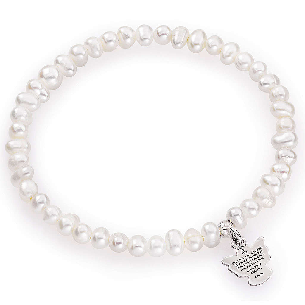 Amen bracelet with round pearls and sterling silver, 4/5mm 4