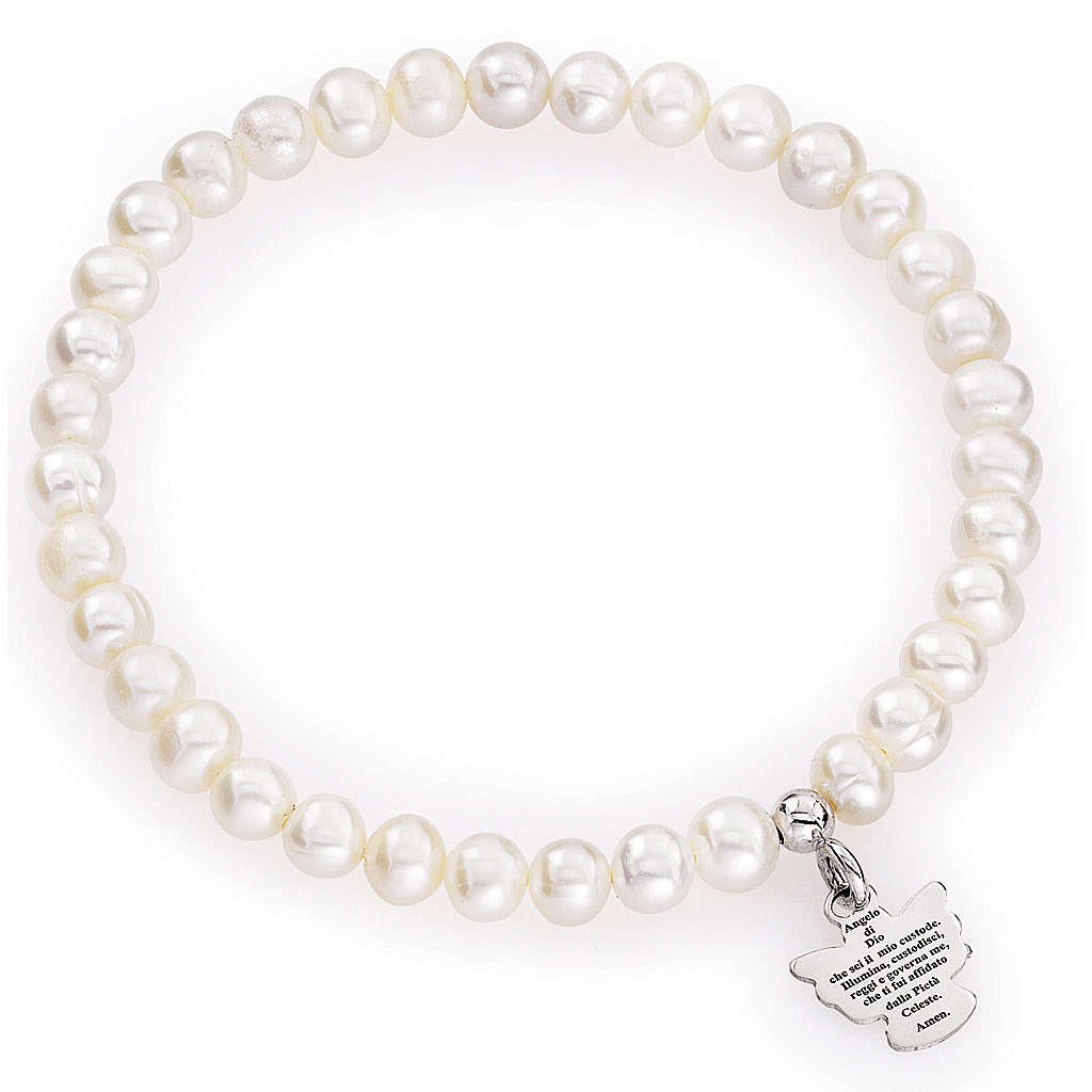 Amen bracelet with round pearls and sterling silver, 5/6mm 4