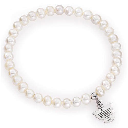 Amen bracelet with round pearls and sterling silver, 5/6mm 1