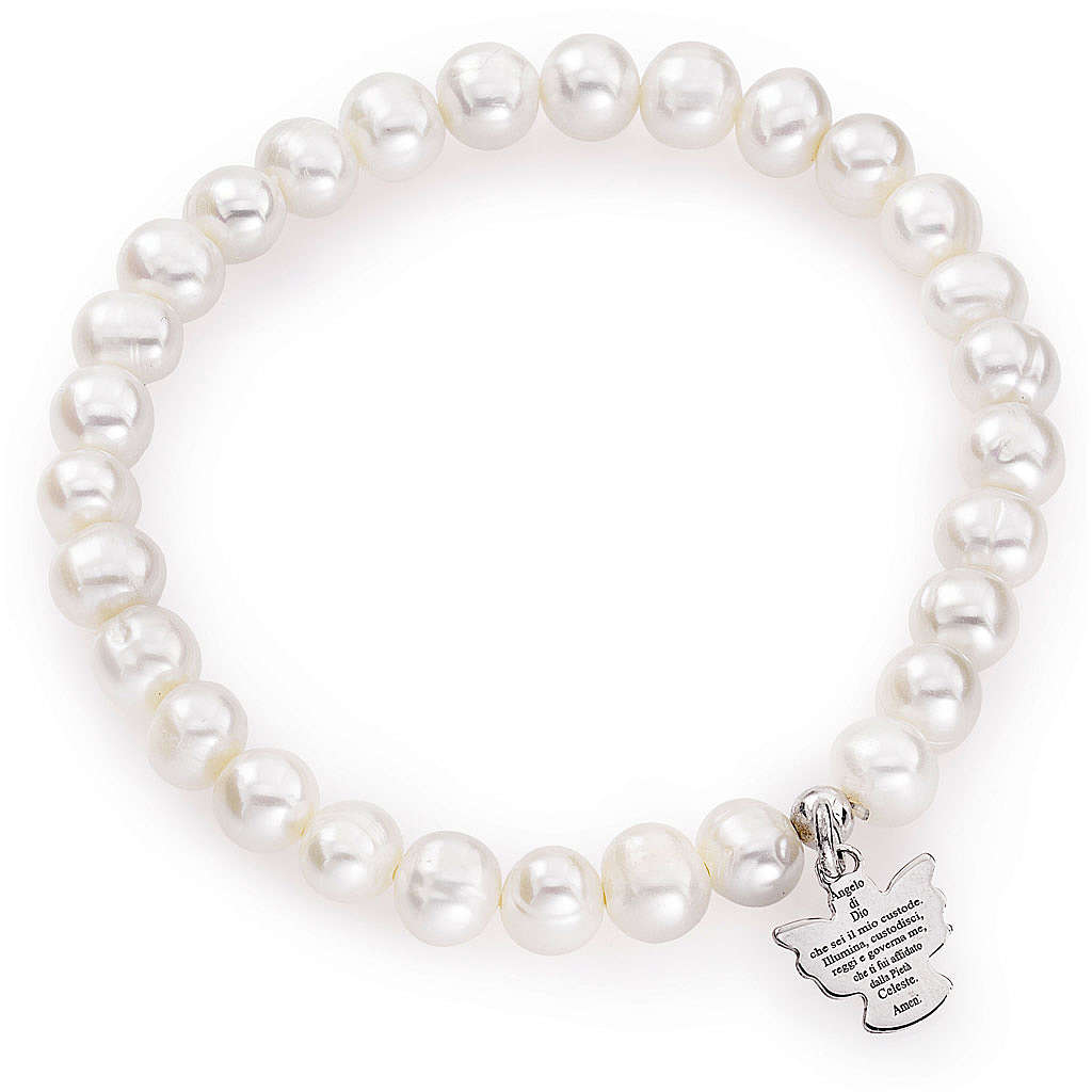 Amen bracelet with round pearls and sterling silver, 6/7mm 4