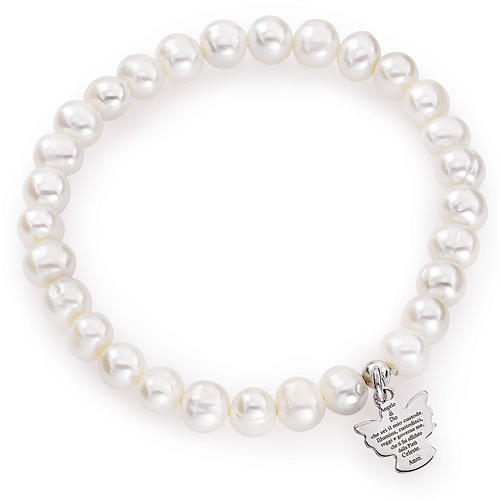 Amen bracelet with round pearls and sterling silver, 6/7mm 1