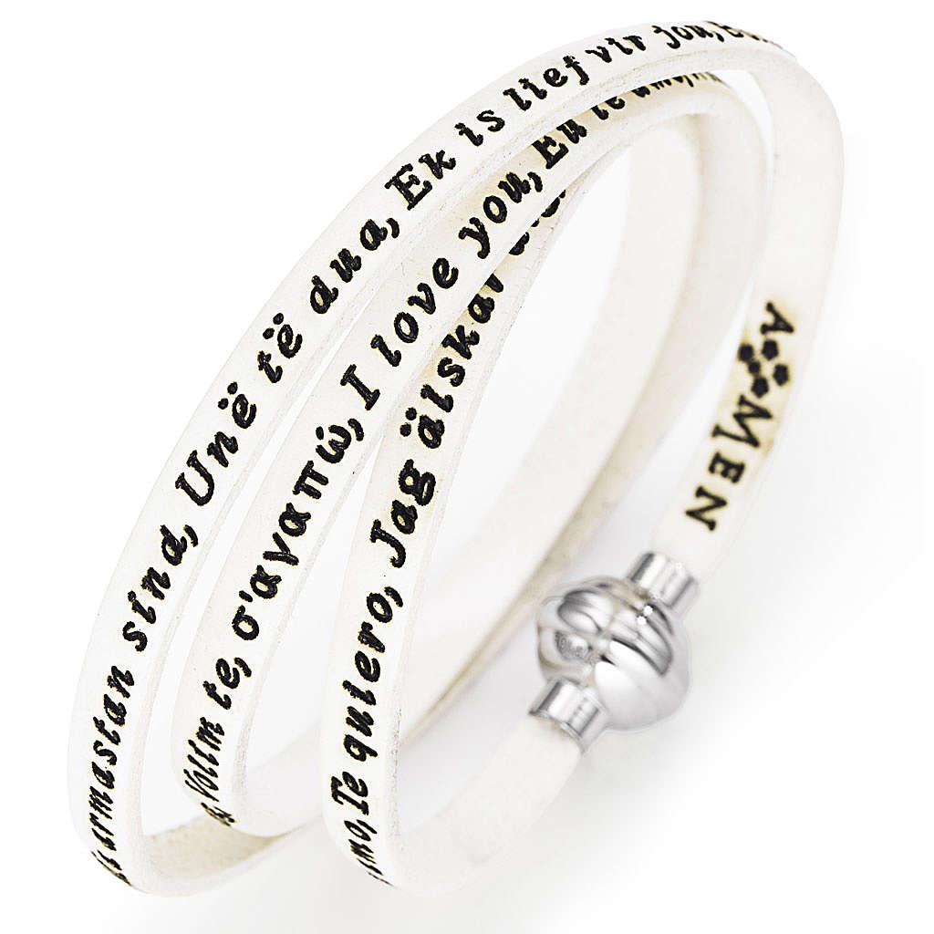 Bracelet Amen Je t'aime dans toutes les langues blanc 4