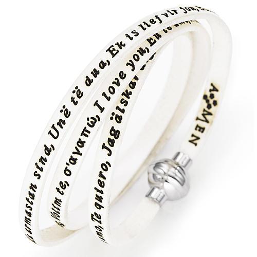 Bracelet Amen Je t'aime dans toutes les langues blanc 1