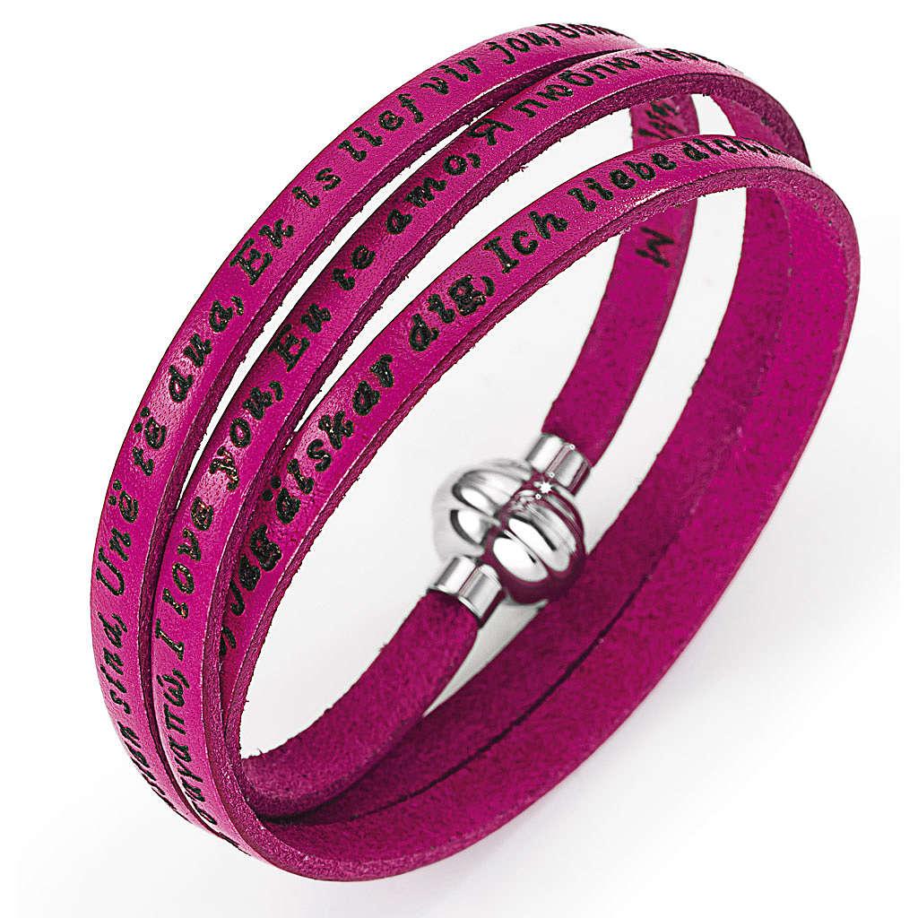 Bracelet Amen Je t'aime dans toutes les langues fuchsia 4