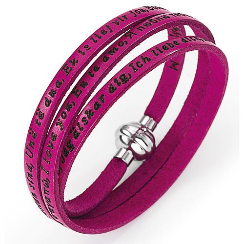 Bracelet Amen Je t'aime dans toutes les langues fuchsia 1