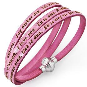 AMEN bracelets: Amen bracelet I love you, pink with charm