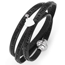 AMEN bracelets: Amen bracelet I love you, black with charm