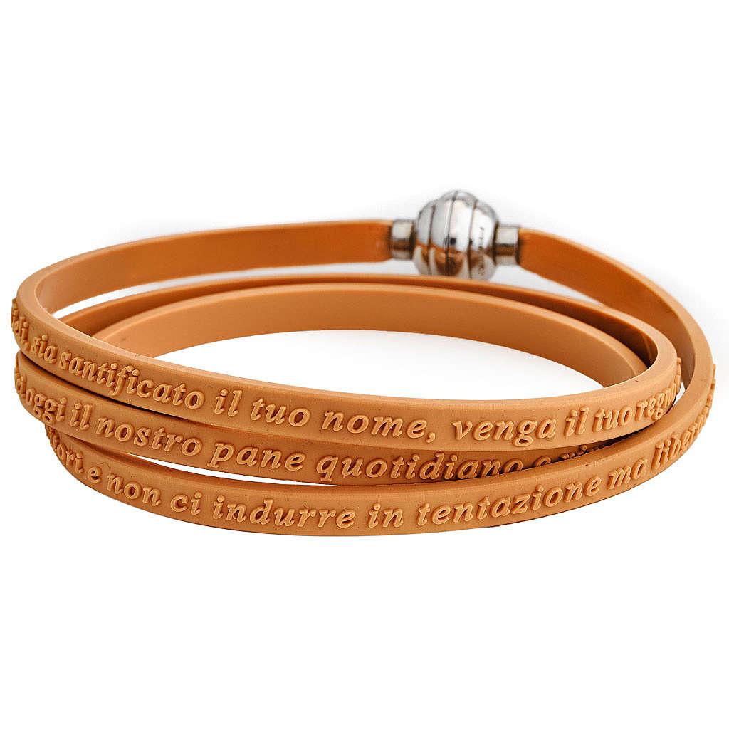 Bracelet AMEN prière Notre Père italien caoutchouc orange 4