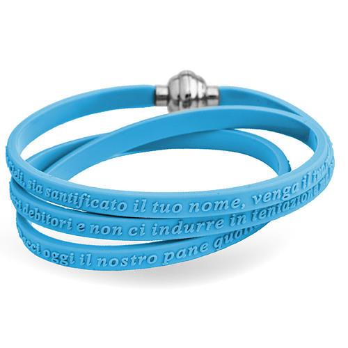 Bracelet AMEN prière Notre Père italien caoutchouc bleu ciel 1