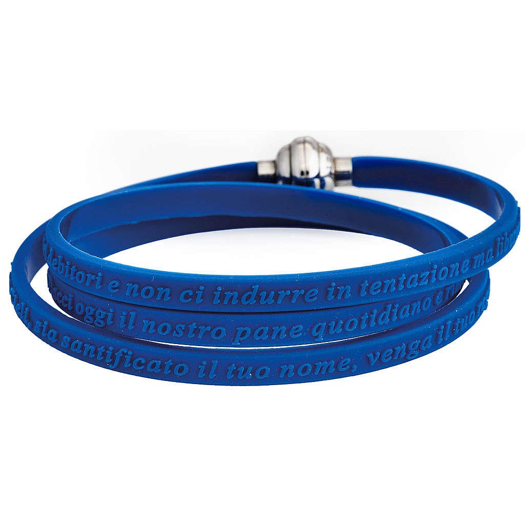 Bracelet AMEN prière Notre Père italien caoutchouc bleu 4