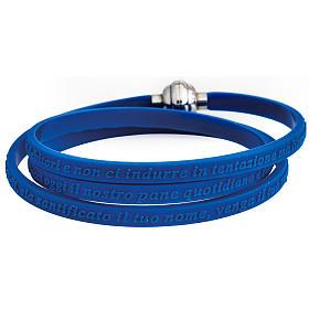 AMEN bracelets: Amen bracelet, Our Father in Italian, blue rubber