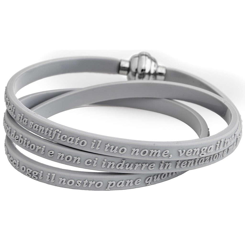 Bracelet AMEN prière Notre Père italien caoutchouc gris 4