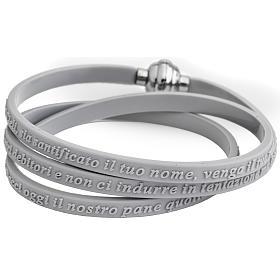 Bracelet AMEN prière Notre Père italien caoutchouc gris s1