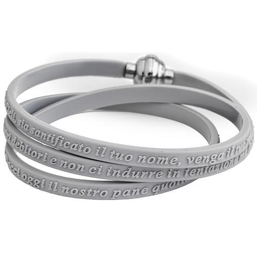 Bracelet AMEN prière Notre Père italien caoutchouc gris 1