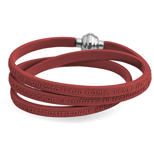 Amen bracelet, Our Father in Italian, brown rubber 1