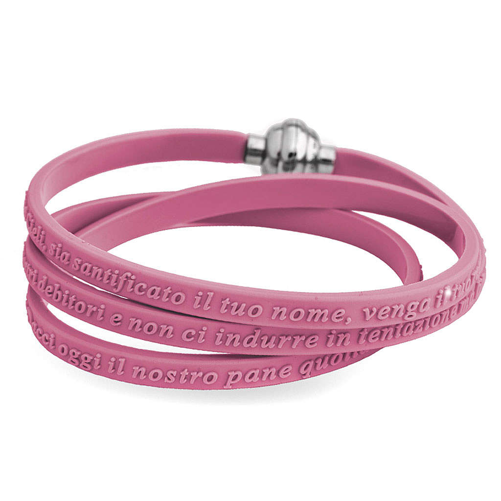 Amen bracelet, Our Father in Italian, pink rubber 4