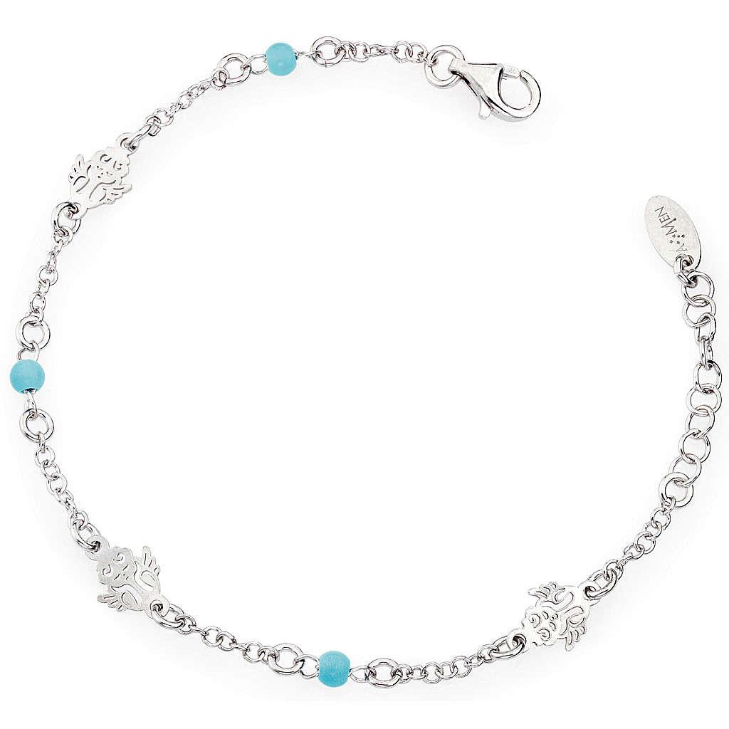 Bracelet AMEN Ange avec petites perles bleues Argent 925 4