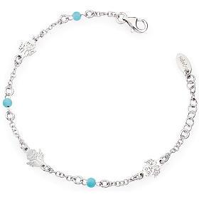 Bransoleta Amen Anioł z perełkami niebieski srebro 925 s1