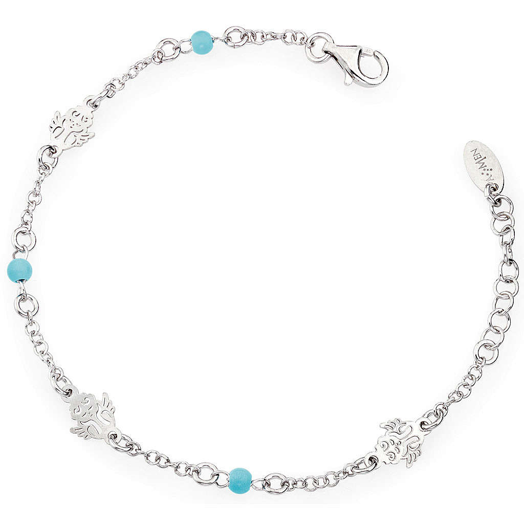 Amen bracelet with Angel and blue beads, sterling silver 4