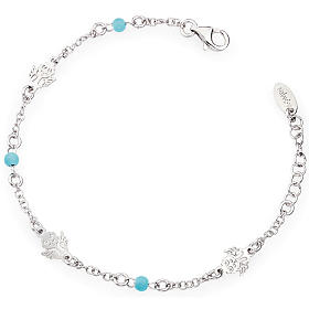 Amen bracelet with Angel and blue beads, sterling silver s1