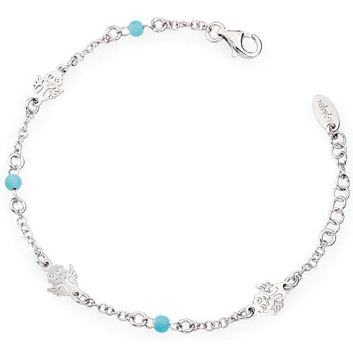 Amen bracelet with Angel and blue beads, sterling silver 1