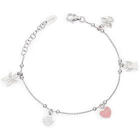 Bracciale AMEN Charm Angeli con cuore rosa Arg. 925 s1