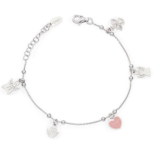 Bracciale AMEN Charm Angeli con cuore rosa Arg. 925 1