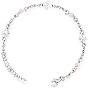 AMEN bracelets: Amen bracelet with Angel and pink beads, sterling silver