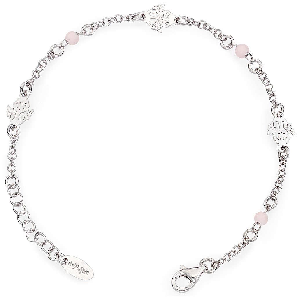Pulsera AMEN Ángel perlas rosas Plata 925 4