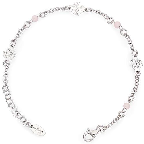 Pulsera AMEN Ángel perlas rosas Plata 925 1