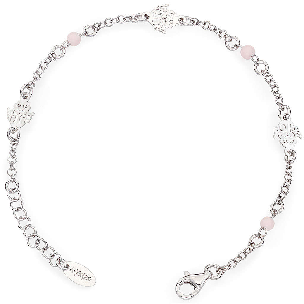 Amen bracelet with Angel and pink beads, sterling silver 4