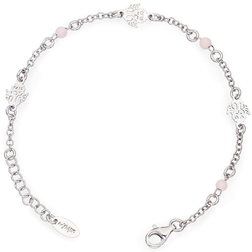 Amen bracelet with Angel and pink beads, sterling silver 1