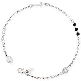 Amen bracelet, Our Father cross and black crystals, sterling sil s1