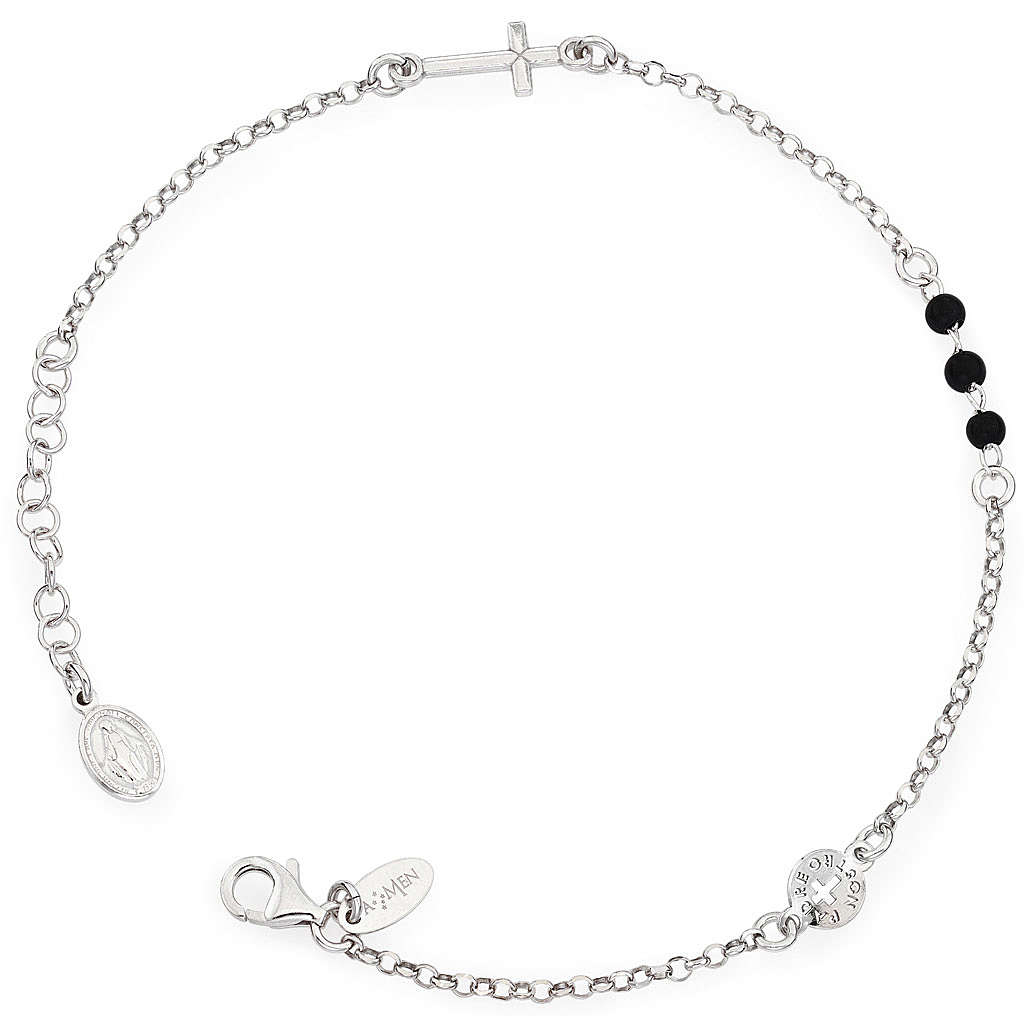 Amen bracelet, Our Father cross and black crystals, sterling sil 4
