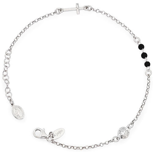 Amen bracelet, Our Father cross and black crystals, sterling sil 1