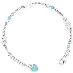 Amen bracelet with Our Lady and blue beads, sterling silver s1