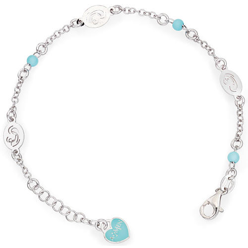 Amen bracelet with Our Lady and blue beads, sterling silver 1