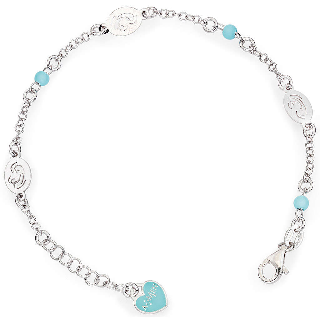 Bracelet AMEN Vierge avec petites perles bleues Argent 925 4