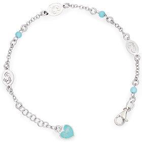 Bracelet AMEN Vierge avec petites perles bleues Argent 925 s1