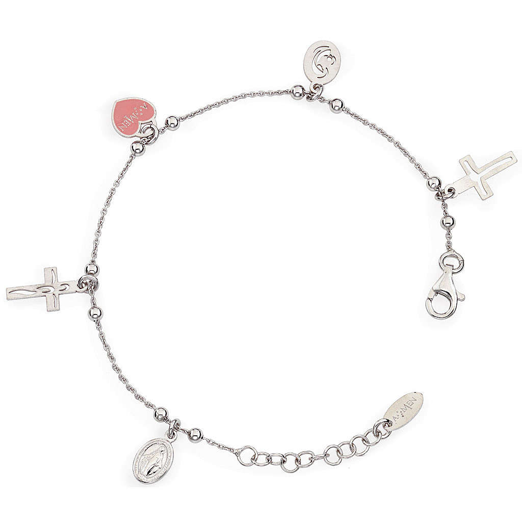 Amen bracelet with charms, Jesus, Our Lady, Pink heart, sterling 4