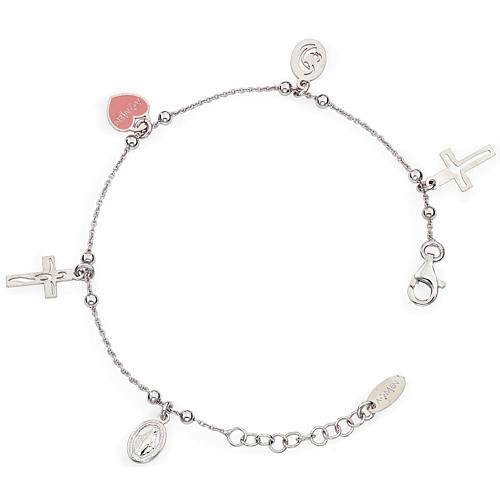 Amen bracelet with charms, Jesus, Our Lady, Pink heart, sterling 1